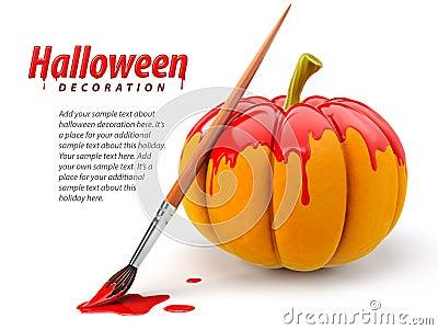 Decoração de Halloween com a abóbora da pintura da escova