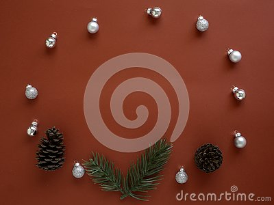 Decorate Christmas and New Year on red background Stock Photo