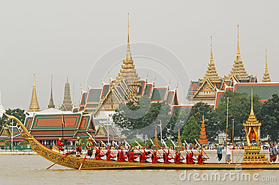 Decorated barge parades at the Chao Phraya River Editorial Photography