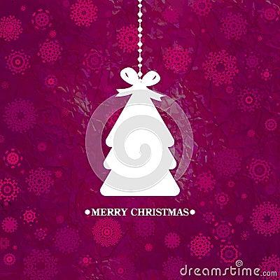 Decorated blue Christmas tree. EPS 8