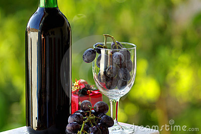 Decorated bottle of red wine