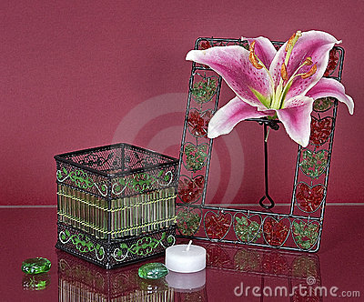 Decorated box and photoframe with a flower