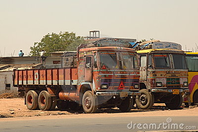 Decorated Cargo Trucks Editorial Stock Photo