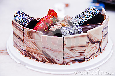 Decorated Chocolate and Cheese Cake