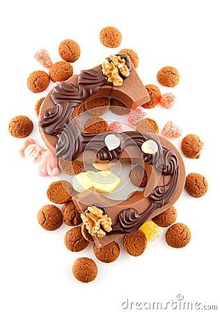 Versierde Chocolade Letter S Voor Sinterklaas Foto