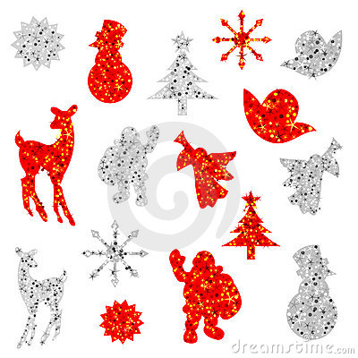 Free Decorated Christmas Silhouettes Stock Photos - 17340063
