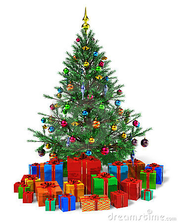 Decorated Christmas tree with heap of gift boxes