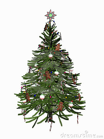 Free Decorated Christmas Tree Over White. Stock Photo - 370020