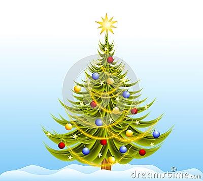 Decorated Christmas Tree Snow