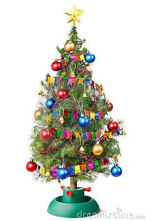Decorated Christmas tree with unplugged garland