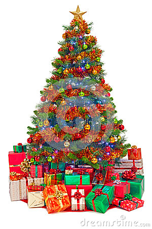 Free Decorated Christmas Tree With Gifts Isolated Stock Photography - 34255402