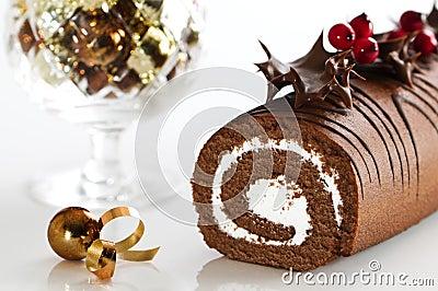 Decorated Christmas Yule Log
