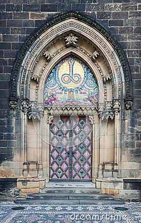 Free Decorated Church Entrance In Prague Vysehrad Stock Photos - 108308083