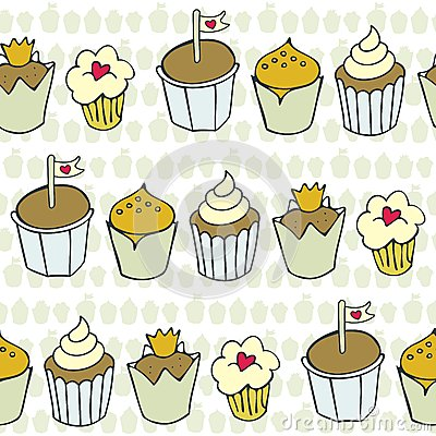 Decorated cupcakes in rows