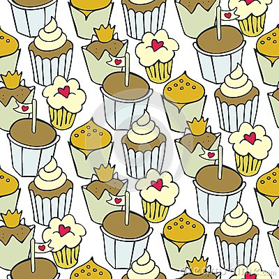 Decorated cupcakes on white