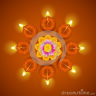 Decorated Diwali Diya on Flower Rangoli