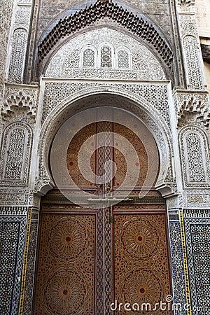 Decorated door in Fes, Morocco