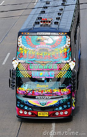 Decorated double-decker bus. Editorial Image