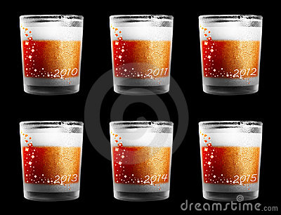 Decorated drinking glasses for New Year Eve
