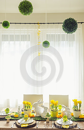 Free Decorated Easter Table Royalty Free Stock Image - 52179776