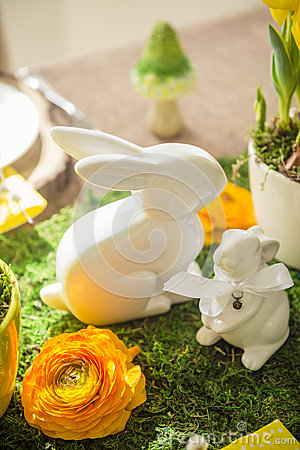 Free Decorated Easter Table Royalty Free Stock Photography - 52179807