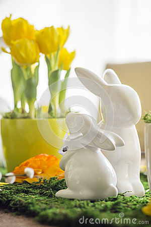 Free Decorated Easter Table Stock Image - 52179871