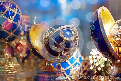 Decorated eggs (Faberge Eggs) at counter