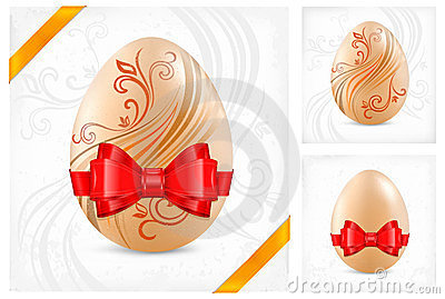 Decorated eggs with ribbon