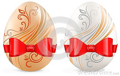 Decorated eggs with ribbon on white