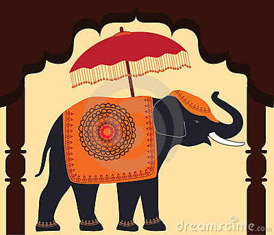 Decorated Elephant and Umbrella under arch.
