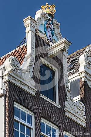 Decorated facade of a historic Amsterdam house