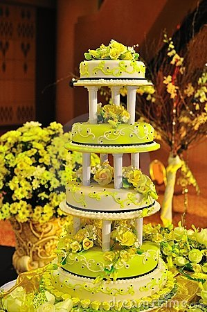 Decorated four tiered wedding cake