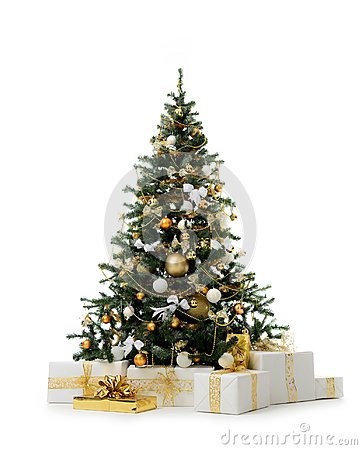 Free Decorated Gold Christmas Tree With Golden Patchwork Ornament Artificial Balls And Gift Presents For New Year Stock Images - 103684354