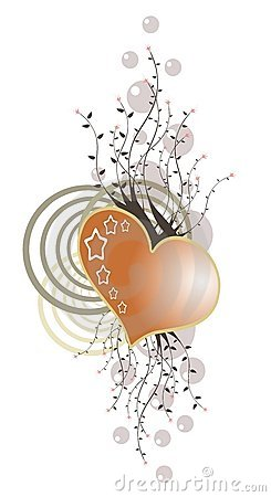 Isolated heart decorated with floral fantasy