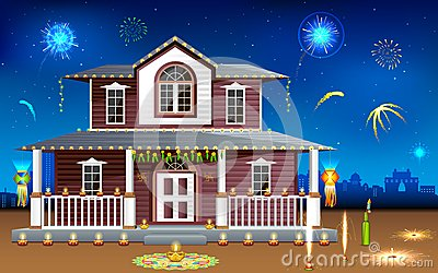 Decorated house in Diwali night