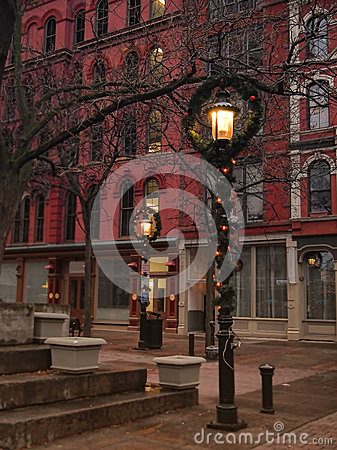 Free Decorated Lampposts At Christmastime Stock Image - 81910131