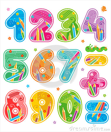 Free Decorated Numbers, See Also Corresponding ABC Set Royalty Free Stock Image - 32721906