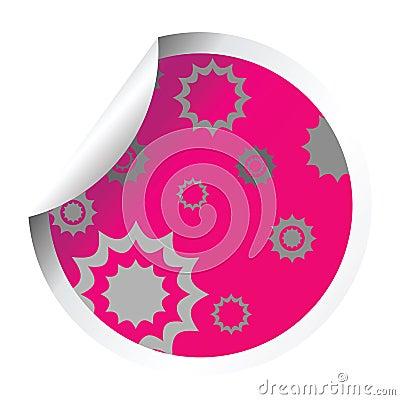 Decorated pink sticker