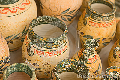 Decorated pots on sale in Crete.