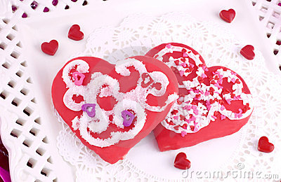 Decorated Red Valentines Cookies