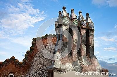 The decorated roof. Casa Batllo. Antonio Gaudi