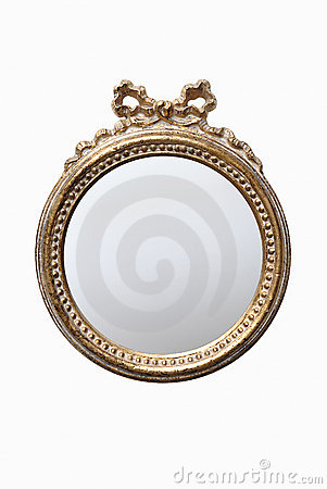 Decorated round mirror