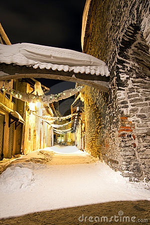 Decorated snowy street in Tallinn, Estonia