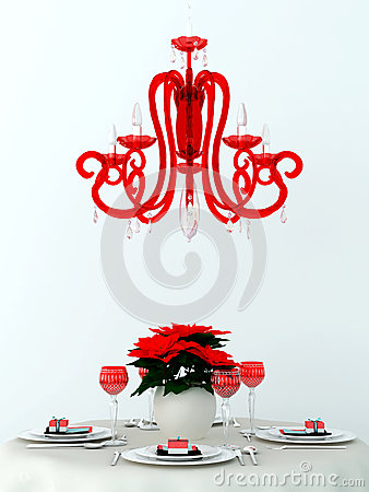 Free Decorated Table And A Red Lamp Stock Image - 27927241
