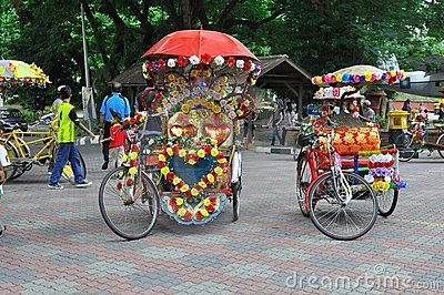 Decorated trishaw in Melaka Editorial Photography