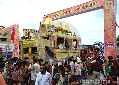 Decorated Trucks during Rathyatra Journey Editorial Stock Photo