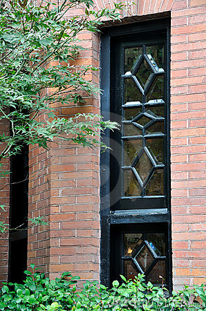 Decorated window of brick architecture