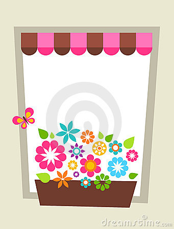 Decorated window shaped card template