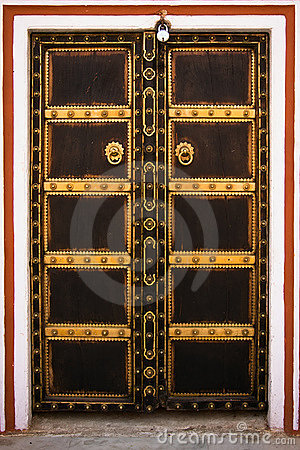 Decorated wooden door