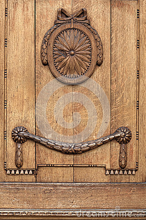 Decorated wooden door Stock Photo